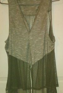 Olive Green Sheer Lace Sleeveless Vest 2X